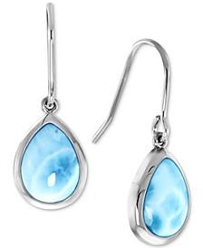 Larimar Teardrop Drop Earrings in Sterling Silver