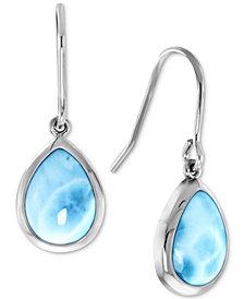 Marahlago Larimar Teardrop Drop Earrings in Sterling Silver