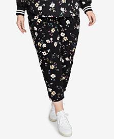 RACHEL Rachel Roy Trendy Plus Size Floral-Print Pants