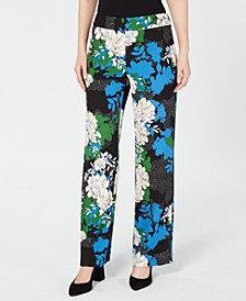 I.N.C. Printed Wide-Leg Crêpe Pants, Created for Macy's