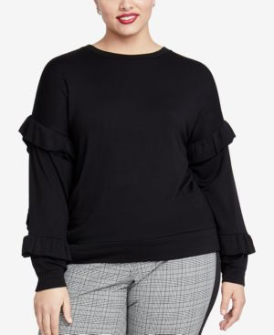 Miranda Ruffle-Sleeve Top, Plus Size, Black