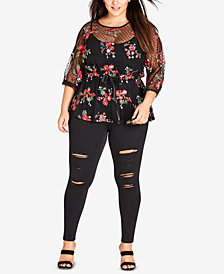 City Chic Trendy Plus Size Embroidered Peplum Top