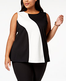 Alfani Plus Size Colorblocked Sleeveless Top, Created for Macy's