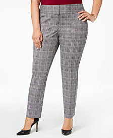 Alfani Plus Size Printed Wide-Waistband Slim Pants, Created for Macy's