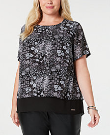 MICHAEL Michael Kors Plus Size Printed Split-Back Top