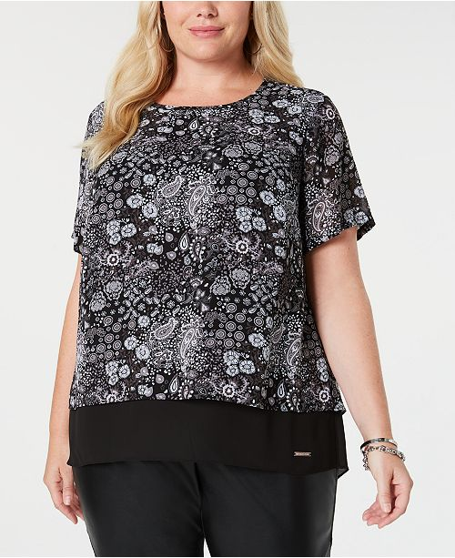 65b1b0c1cc MICHAEL Michael Kors. Plus Size Printed Split-Back Top. Be the first to  Write a Review. main image  main image ...