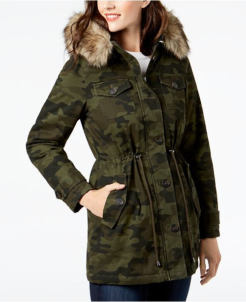 Printed Coat Anorak Fur Faux BCBGeneration Trim Camo ZpwtSPq4