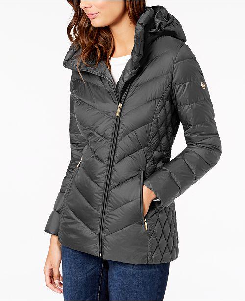 ee43f2320c1 Michael Kors Asymmetrical Hooded Packable Puffer Coat   Reviews ...