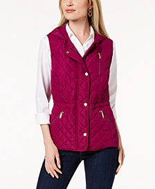 Charter Club Petite Quilted Hooded Vest, Created for Macy's