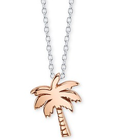 "Unwritten Tropical Vibes Palm Tree Pendant Necklace in Sterling Silver & Rose Gold-Flash, 16"" + 2"" extender"
