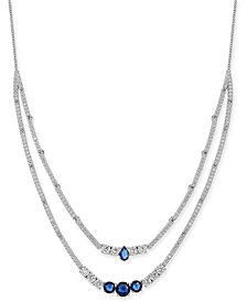 "Danori Silver-Tone Crystal & Stone Double-Layer Necklace, 16"" + 1"" extender, Created for Macy's"