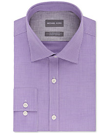 Michael Kors Men's Classic/Regular Fit Non-Iron Airsoft Stretch Performance Check Dress Shirt