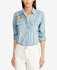 Lauren Ralph Lauren Cotton Chambray Patch Shirt