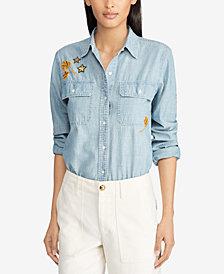 Lauren Ralph Lauren Cotton Chambray Patch Shirt