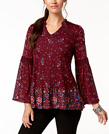 Style & Co Petite Floral-Print High-Low Tunic, Created for Macy's