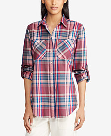 Lauren Ralph Lauren Plaid Twill Cotton Shirt