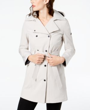 HOODED DOUBLE-BREASTED TRENCH COAT