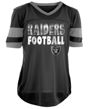 5th & Ocean Oakland Raiders Foil Football Jersey, Girls (4-16)