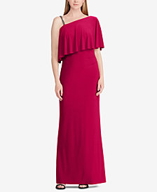 Lauren Ralph Lauren Overlay One-Shoulder Gown