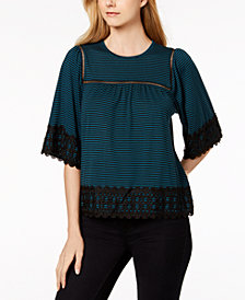 John Paul Richard Petite Striped Lace-Trim Top