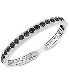 Black Sapphire (1-7/8 ct. t.w.) & Diamond (1/10 ct. t.w.) Bangle Bracelet in Sterling Silver