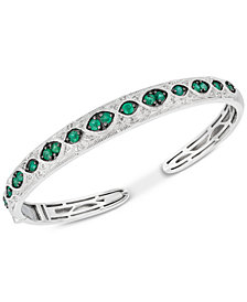 Emerald (1-1/5 ct. t.w.) & Diamond (1/6 ct. t.w.) Bangle Bracelet in Sterling Silver