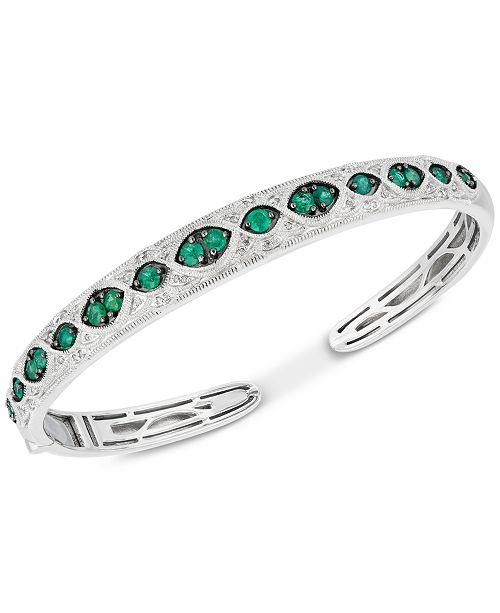 Macy's Emerald (1-1/5 ct. t.w.) & Diamond (1/6 ct. t.w.) Bangle Bracelet in Sterling Silver