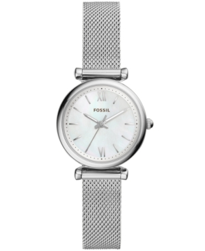 Fossil WOMEN'S MINI CARLIE STAINLESS STEEL MESH BRACELET WATCH 28MM