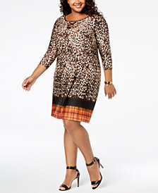 NY Collection Plus Size Border-Print Keyhole Dress