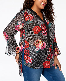 NY Collection Plus Size Chiffon Bell-Sleeve Tunic