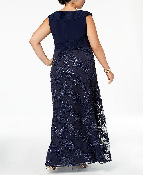 9be4cb691c5 Alex Evenings Plus Size Embellished Appliqué Gown - Dresses - Women - Macy s
