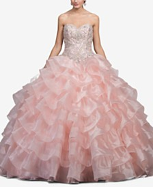 Dancing Queen Juniors' Embellished Ruffled Ballgown
