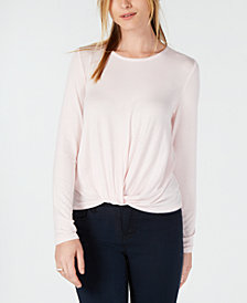Maison Jules Striped Twisted Hem Top, Created for Macy's