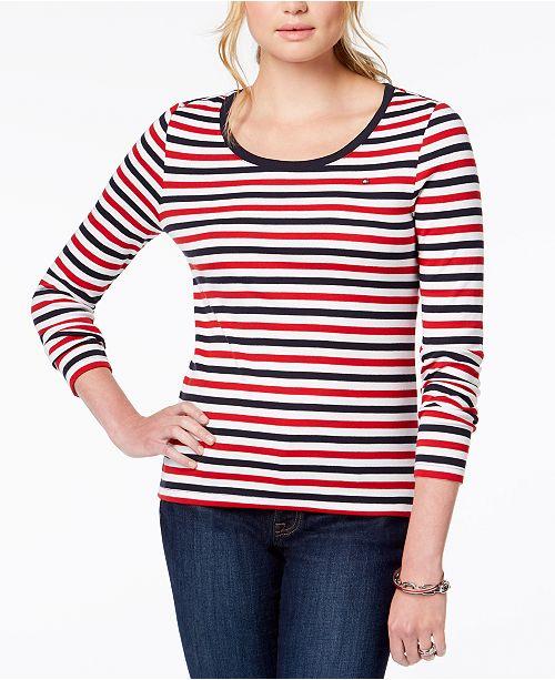 30b94a138791 ... Tommy Hilfiger Striped Flag-Logo T-Shirt