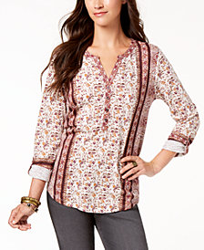 Style & Co Petite Printed Utility Top, Created for Macy's