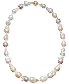 """Multicolor Cultured Baroque Freshwater Pearl (9-11mm) 17"""" Collar Necklace"""