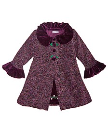 Little Girls 2-Pc. Tweed Coat & Embroidered Dress Set