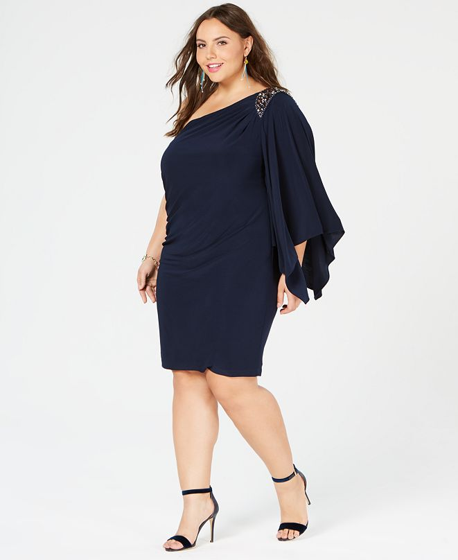 Morgan & Company Trendy Plus Size One-Shouldered Dress