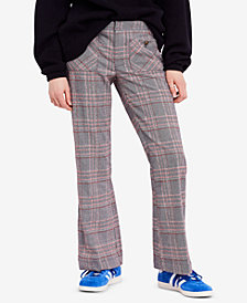 Free People Plaid Flare-Leg Pants