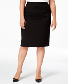 460bf2f5d82 Calvin Klein Plus Size Pull-On Tummy-Control Pencil Skirt   Reviews ...