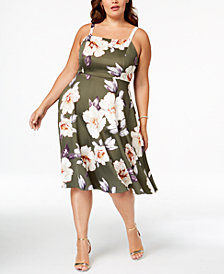 Soprano Trendy Plus Size Floral-Print Midi Dress