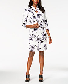 Kasper Floral-Print Jacket & Sheath Dress