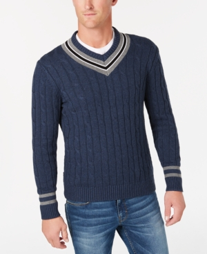 Men's Vintage Sweaters – 1920s to 1960s Retro Jumpers Club Room Mens Cricket V-Neck Sweater Created for Macys $18.13 AT vintagedancer.com