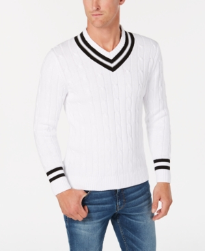 Men's Vintage Style Sweaters – 1920s to 1960s Club Room Mens Cricket V-Neck Sweater Created for Macys $29.99 AT vintagedancer.com