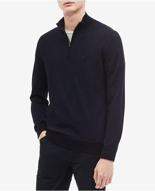 dd2e29ec0908f9 Calvin Klein Men's Classic Merino Wool Quarter-Zip Sweater & Reviews ...