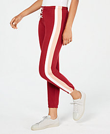 Planet Gold Juniors' Striped Lace-Up Jogger Pants