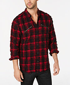 I.N.C. Men's Frayed Plaid Shirt, Created for Macy's