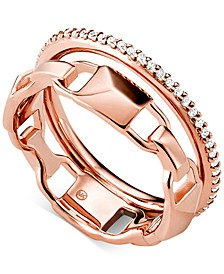 Women's Mercer Link Double Row Sterling Silver Ring
