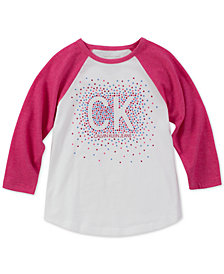 Calvin Klein Big Girls Cotton Colorblocked Raglan T-Shirt