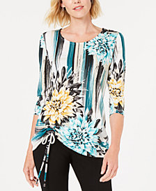 JM Collection Printed Ruched-Front Top, Created for Macy's